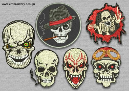 The pack of embroidery designs Evil skull patches