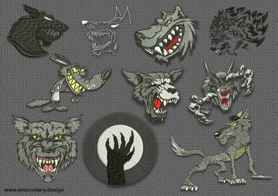 The pack of embroidery designs Evil wolves includes 10 creative designs.