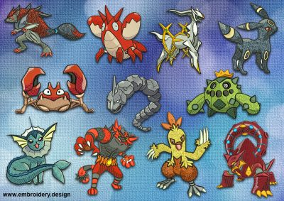 The pack of embroidery designs Extraordinary Pokemons includes 11 digital items.