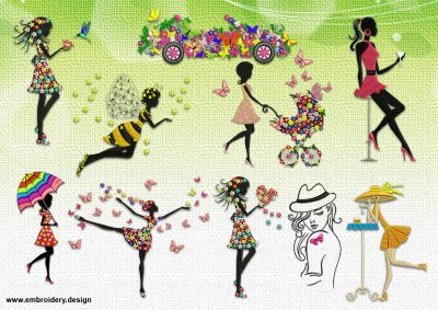 The pack of embroidery designs Fairy girls provides as 10 archives with designs