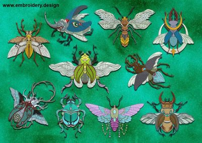 This Fairy insects embroidery designs pack design was digitized and embroidered by www.embroidery.design.