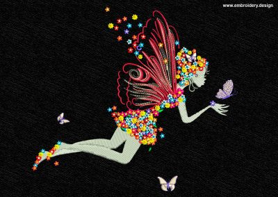 This Fairy's flowering silhouette design was digitized and embroidered by www.embroidery.design.