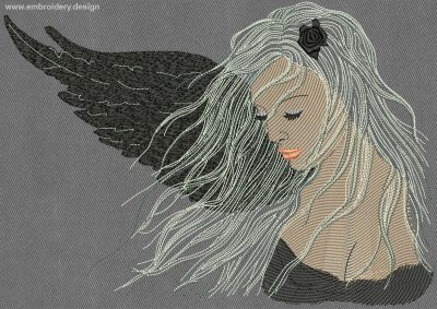 This Fallen angel design was digitized and embroidered by www.embroidery.design.