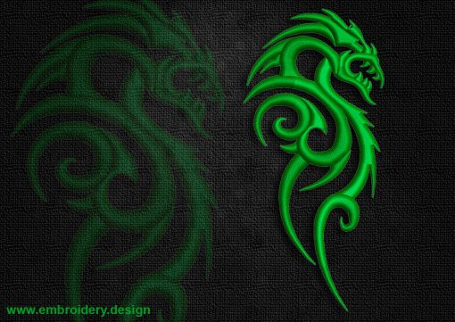 This Fanged celtic dragon design was digitized and embroidered by www.embroidery.design.