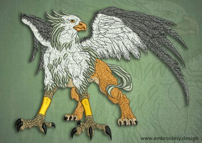 This Fantastic griffon design was digitized and embroidered by www.embroidery.design.