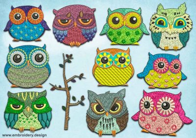 This Feathery owls pack #3 design was digitized and embroidered by www.embroidery.design.
