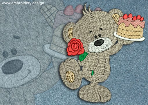 This Festive Teddy Bear design was digitized and embroidered by www.embroidery.design.