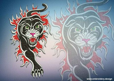 This Fiery panther design was digitized and embroidered by www.embroidery.design.