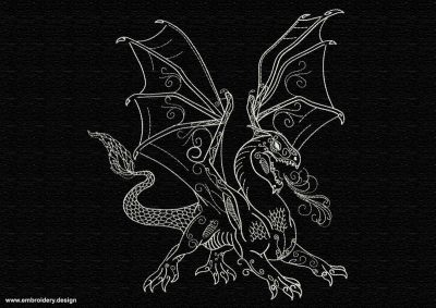 This Fire spitting dragon design was digitized and embroidered by www.embroidery.design.