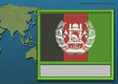 This Flag of Afghanistan Customizable Text  with a Colour Coded border design was digitized and embroidered by www.embroidery.design.