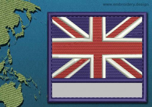 This Flag of Akrotiri Customizable Text  with a Colour Coded border design was digitized and embroidered by www.embroidery.design.