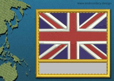 This Flag of Akrotiri Customizable Text  with a Gold border design was digitized and embroidered by www.embroidery.design.