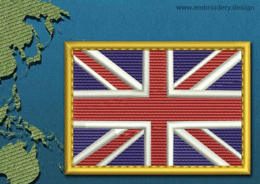 This Flag of Akrotiri Rectangle with a Gold border design was digitized and embroidered by www.embroidery.design.