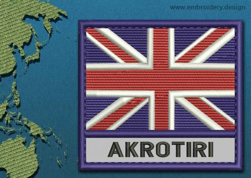 This Flag of Akrotiri Text with a Colour Coded border design was digitized and embroidered by www.embroidery.design.