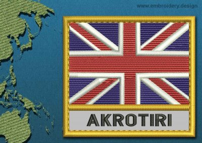 This Flag of Akrotiri Text with a Gold border design was digitized and embroidered by www.embroidery.design.