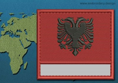 This Flag of Albania Customizable Text  with a Colour Coded border design was digitized and embroidered by www.embroidery.design.