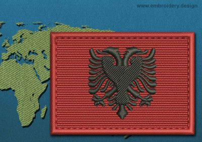 This Flag of Albania Rectangle with a Colour Coded border design was digitized and embroidered by www.embroidery.design.