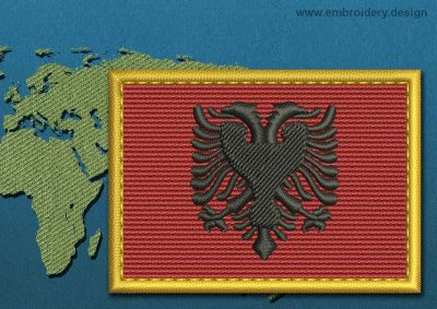 This Flag of Albania Rectangle with a Gold border design was digitized and embroidered by www.embroidery.design.