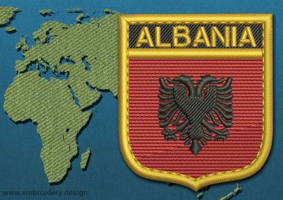 This Flag of Albania Shield with a Gold border design was digitized and embroidered by www.embroidery.design.