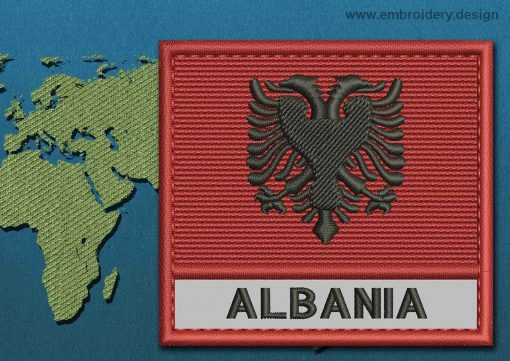 This Flag of Albania Text with a Colour Coded border design was digitized and embroidered by www.embroidery.design.