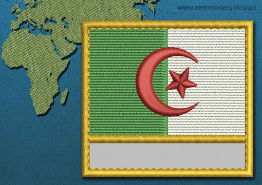 This Flag of Algeria Customizable Text  with a Gold border design was digitized and embroidered by www.embroidery.design.