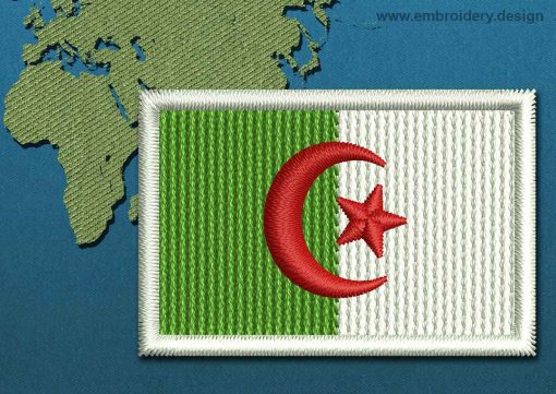This Flag of Algeria Mini with a Colour Coded border design was digitized and embroidered by www.embroidery.design.