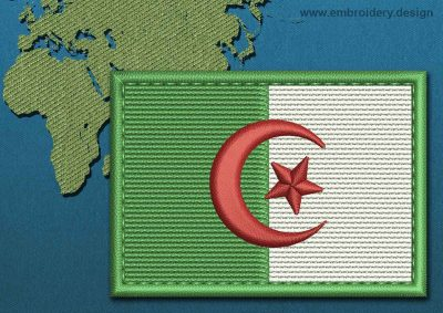 This Flag of Algeria Rectangle with a Colour Coded border design was digitized and embroidered by www.embroidery.design.