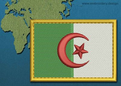 This Flag of Algeria Rectangle with a Gold border design was digitized and embroidered by www.embroidery.design.