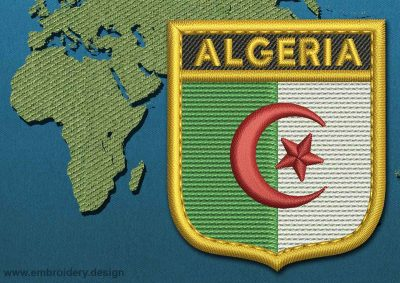 This Flag of Algeria Shield with a Gold border design was digitized and embroidered by www.embroidery.design.