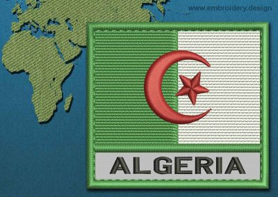 This Flag of Algeria Text with a Colour Coded border design was digitized and embroidered by www.embroidery.design.