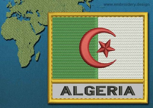 This Flag of Algeria Text with a Gold border design was digitized and embroidered by www.embroidery.design.