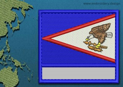 This Flag of American Samoa Customizable Text  with a Colour Coded border design was digitized and embroidered by www.embroidery.design.