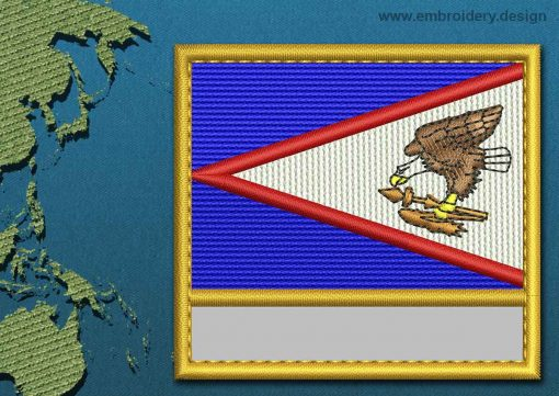 This Flag of American Samoa Customizable Text  with a Gold border design was digitized and embroidered by www.embroidery.design.