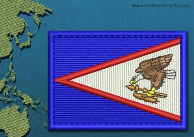 This Flag of American Samoa Rectangle with a Colour Coded border design was digitized and embroidered by www.embroidery.design.