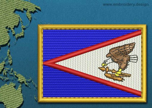 This Flag of American Samoa Rectangle with a Gold border design was digitized and embroidered by www.embroidery.design.