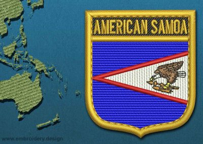 This Flag of American Samoa Shield with a Gold border design was digitized and embroidered by www.embroidery.design.