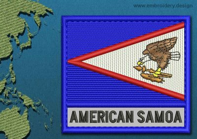 This Flag of American Samoa Text with a Colour Coded border design was digitized and embroidered by www.embroidery.design.
