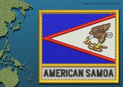 This Flag of American Samoa Text with a Gold border design was digitized and embroidered by www.embroidery.design.