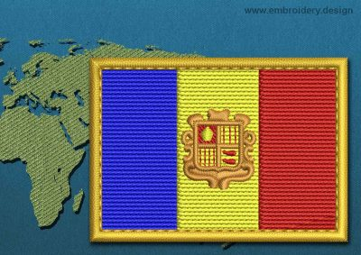 This Flag of Andorra Rectangle with a Gold border design was digitized and embroidered by www.embroidery.design.