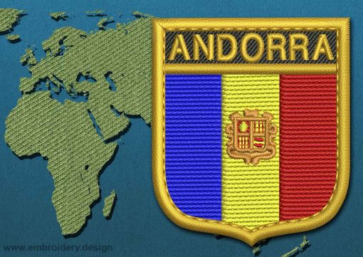 This Flag of Andorra Shield with a Gold border design was digitized and embroidered by www.embroidery.design.