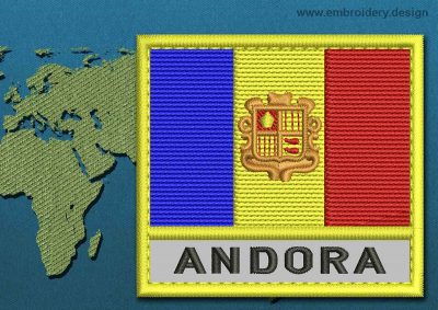 This Flag of Andorra Text with a Colour Coded border design was digitized and embroidered by www.embroidery.design.