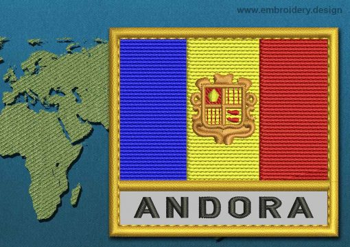 This Flag of Andorra Text with a Gold border design was digitized and embroidered by www.embroidery.design.