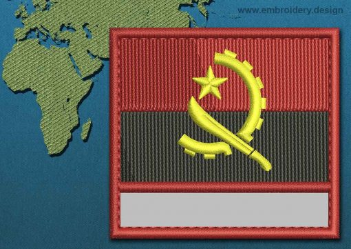 This Flag of Angola Customizable Text  with a Colour Coded border design was digitized and embroidered by www.embroidery.design.