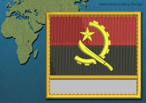 This Flag of Angola Customizable Text  with a Gold border design was digitized and embroidered by www.embroidery.design.