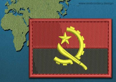 This Flag of Angola Rectangle with a Colour Coded border design was digitized and embroidered by www.embroidery.design.