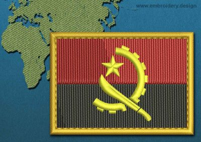 This Flag of Angola Rectangle with a Gold border design was digitized and embroidered by www.embroidery.design.