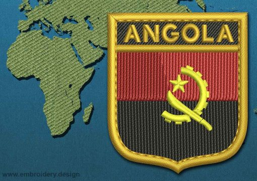 This Flag of Angola Shield with a Gold border design was digitized and embroidered by www.embroidery.design.