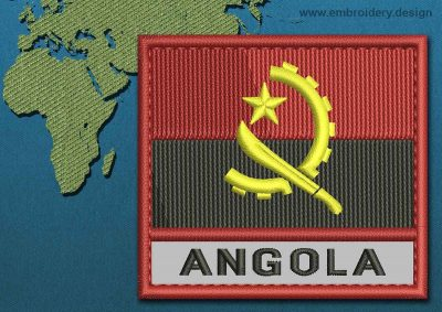 This Flag of Angola Text with a Colour Coded border design was digitized and embroidered by www.embroidery.design.