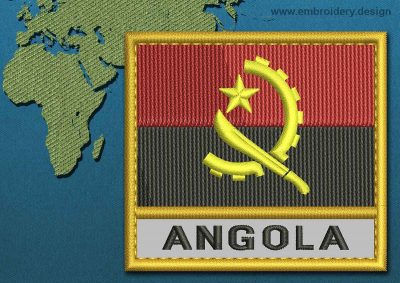 This Flag of Angola Text with a Gold border design was digitized and embroidered by www.embroidery.design.
