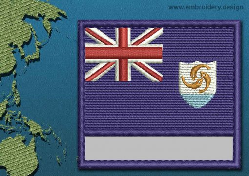 This Flag of Anguilla Customizable Text  with a Colour Coded border design was digitized and embroidered by www.embroidery.design.